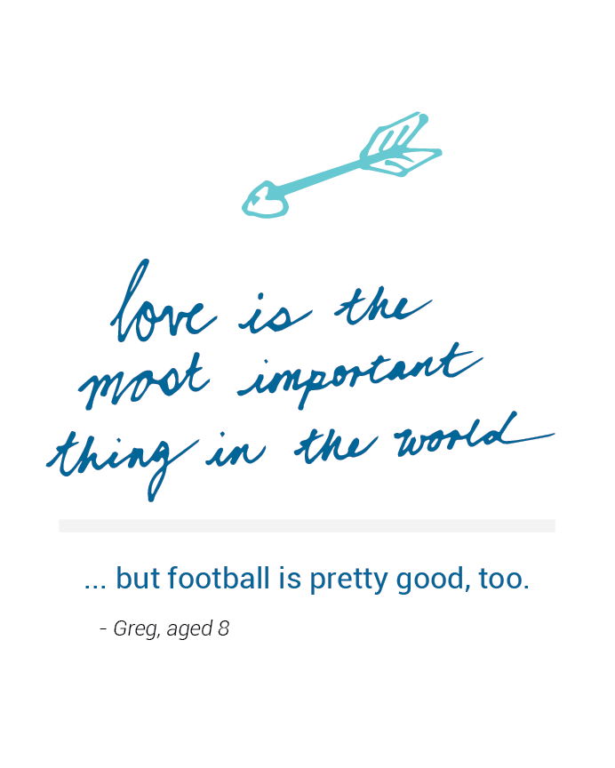 Eight year old Greg loves love and football